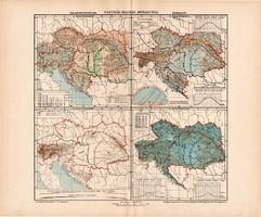 Osztrák - Magyar Monarchia talajemelkedés és éghajlat térkép (ek) 1902, eredeti, atlasz, Kogutowicz