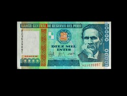 UNC - 10 000 INTIS -  PERU - 1988-BÓL!