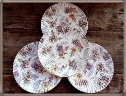 Sarreguemines Lavalliére kagyló formájú,csipke és virág mintájú  fajansz tányérok