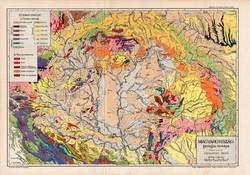 Magyarország geológiai térkép 1902, eredeti, atlasz, Kogutowicz Manó, Cholnoky Jenő, régi, földtan