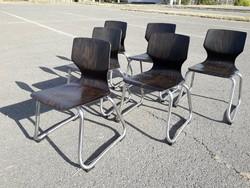 SKANDINÁV   DESIGN ADAM STEGNER for FLÖTOTTO, 1960-as évek 6db Mid Century gyermek szék