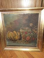 Antik szignózott festmény - Csendélet