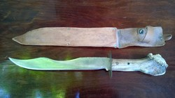 Vadászbárd-vadászkés--zsigerelő+bőrtok 43 cm