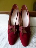Vintage borvörös körömcipő női cipő bőrcipő magassarkú cipő 50-es 60-as évek