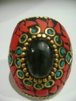 Antik keleti kézműves alkotás, drága köves,nagy smaragd,türkiz korallal,