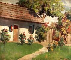 Károlyi Gyula Falusi ház rózsabokrokkal olaj vászon 83x73cm Tanya Udvar Virágok