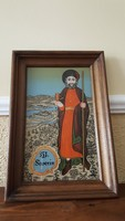 St. Severin glass holy image in wooden frame