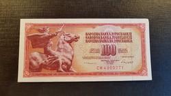 *** Hajtatlan aUNC jugoszláv 100 dínár ***