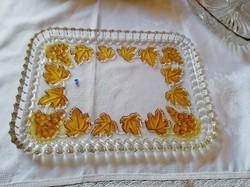 Álomszép, súlyos üveg süteményes tál, kínáló 31,5 x 23 cm