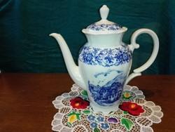 Porcelán ,virágos-jelenetes tea kiöntő,Terézia sorozat.