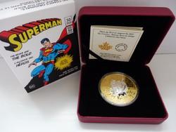 2017 Kanada 50$ Superman - Brave and Bold - 3 uncia tiszta ezüst érme arannyal futtatva