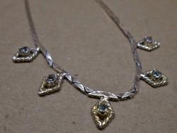 Szépen megőrzött antik ezüst köves nyaklánc