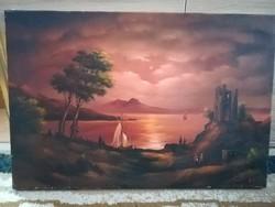 60x40 cm olajvászon festmény, ismeretlen festő, szignózott