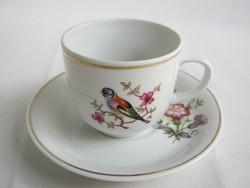 Hollóházi porcelán madaras kávés csésze + alj