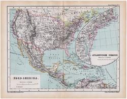 Észak - Amerika térkép 1870, eredeti, német nyelvű, atlas, Kozenn, régi, Atlanti államok, antik