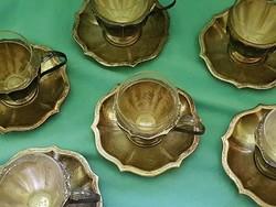 Jelzett ezüst kávéskészlet hőálló üveg poharakkal