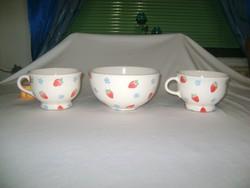 Leveses vagy műzlis csészék és tálka - Laura Ashley - epres