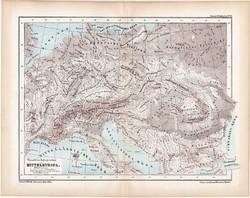 Közép - Európa hegy- és vízrajzi térkép 1870, eredeti, német nyelvű, atlas, Kozenn, XIX. század