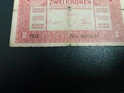 Viseltes 2 korona 1917 , 7000 feletti sorszám!