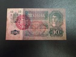 """10 korona 1915 """"MAGYARORSZÁG"""" felülbélyegzéssel."""
