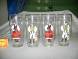 Retro vizes pohár - négy darab - népviseletes
