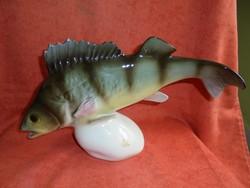 Royal Dux porcelán nagy méretű hal figura