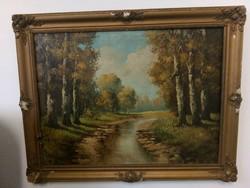 Erdőrészlet patakkal. szignózott nagyméretű festmény