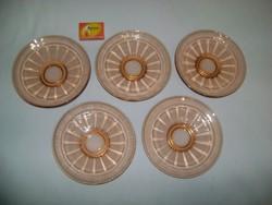 Régi süteményes tányér - öt darab - üveg