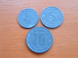 AUSZTRIA OSZTRÁK 1 + 5 + 10 GROSCHEN 1947,1968,1949 CINK