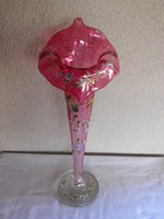 Hatalmas (42 cm) antik,talpas üveg váza 19.sz