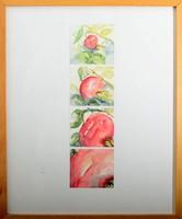 Tina, akvarell festmény, 4 részes festmény