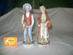 Paraszt néni és bácsi - kerámia figura - két darab