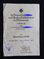 Német 2.VH 2.o vaskereszt adományozói okirat 1942 -ből