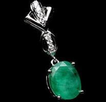 Smaragd kővel rakott 925 ös ezüst medál Eredeti!!!