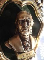 Liszt Ferenc portré - Olasz - NAGY - retro - műanyag - bársony - 23 x 13 x 4 cm