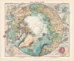 Északi-sark térkép 1905, Stielers, német atlasz, Arktisz, Justus Perthes, nagy méret, 39 x 47 cm