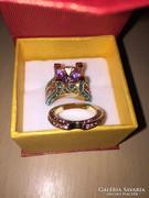 2db Gold filled meseszép eljegyzési gyűrű