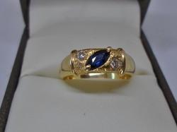 Különleges antik valódi zafír és gyémánt aranygyűrű