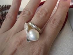 Liliom vastag ezüst gyűrű, igazgyöngy - 925