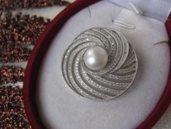 Art deco, klasszikus ezüst bross / medál, igazgyöngy - 925