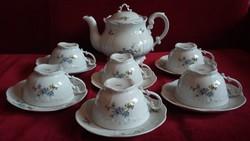 Zsolnay kék barackvirágos barokk teás készlet - RITKA !