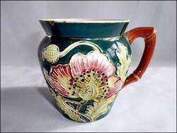 Pipacs virág mintás antik majolika hasas bögre ( Znaim? )