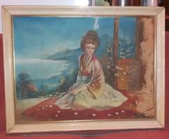 Ismeretlen szignós kínai hercegnő festmény, 60x80 + keret