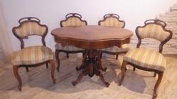 Neobarokk szalon asztal + 4 db koronás szék