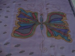 Kézzel festett selyemkendő, 90 x 85 cm, szignált