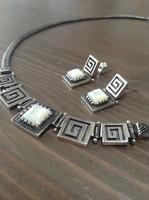 Izraeli ezüst kézműves nyaklánc fülbevalóval, gyöngyház kövekkel