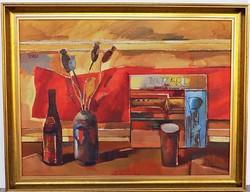 Tardi Kovács Sándor ( 1938- ) Csendélet c. képcsarnokos olajfestménye 90x70cm EREDETI GARANCIÁVAL !