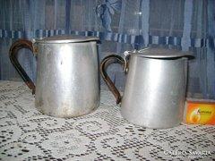 Régi alu kávés kanna, kiöntő - két darab - együtt eladó