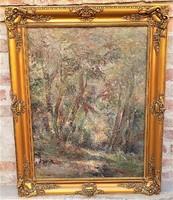 Vári Vojtovits Zoltán (1890-? ) Erdőbelső c..antik olajfestménye 100x77cm EREDETI GARANCIÁVAL !!!