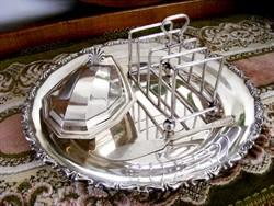 Csodás, antik, ezüstözött reggeliző készlet, pirítós tartó, elegáns pástétom kínáló, kenőkés, tálca